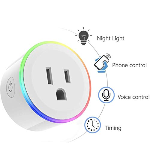 Wi-Fi Smart Plug, WINSUNY Enchufe Inteligente WiFi Timer Outlet Dimmable Light Outlets Smart Socket con RGB Light Compatible con Amazon Alexa Control por Voz, Google Home y IFTTT,APP Remote Control, smart plug para Controle Sus Dispositivos eléctricos Desde Cualquier Lugar (1 Unidad)