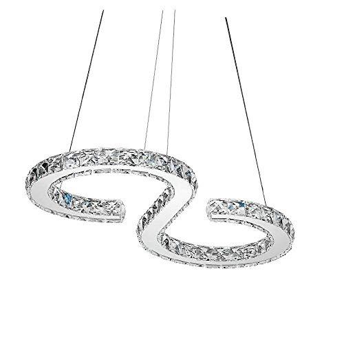 Led-hanglamp met strak licht van kristal, moderne hanglamp van roestvrij staal verchroomd romantische hanglamp woonkamer keuken eiland eettafel bar café creatieve hanglamp S-vorm