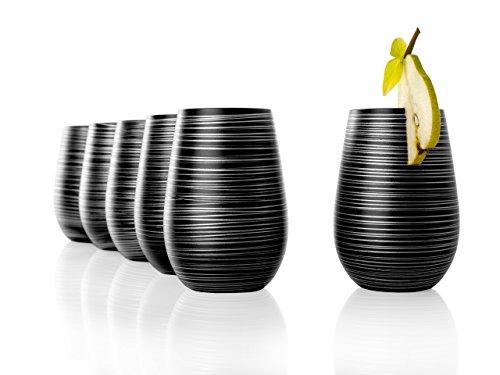 Stölzle Lausitz Becher Twister, 465 ml, 6er Set, in schwarz (matt) und Silber, universell einsetzbar, für Wasser, Säfte, Cocktails, Wein, Windlicht, Vase, spülmaschinenfest