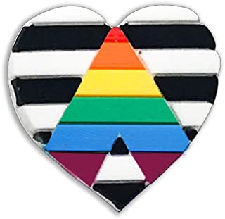 Fundraising For A Cause Heterosexual LGBTQ Ally Heart Flag Pins