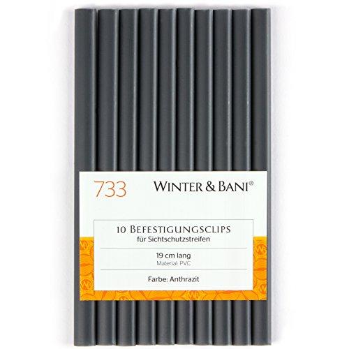 Winter & Bani Clips für Sichtschutzstreifen, Diverse Farben (10 Clips, Anthrazit)