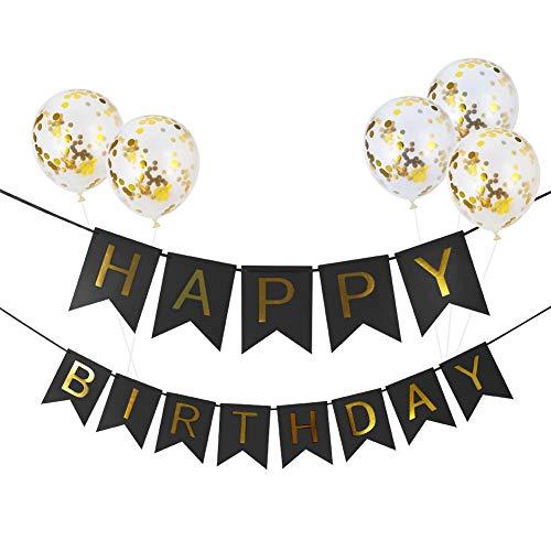 SUSSURRO Deko Geburtstag Happy Birthday Ballon Happy Birthday Girlande Geburtstags Girlande Ballons Banner Set Dekorationen Zubehör für Mädchen, Jungen( schwarz)