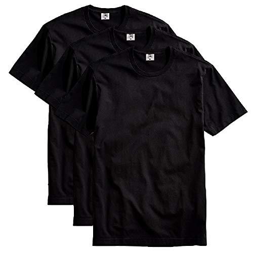 Kit com 3 Camiseta Masculina Básica Algodão Premium (Preto, GG)