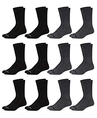 AND1 Men's Athletic Arch Compression Cushion Comfort Crew Socks (12 Pack), Gray/Black, Size Shoe Size: 6-12.5