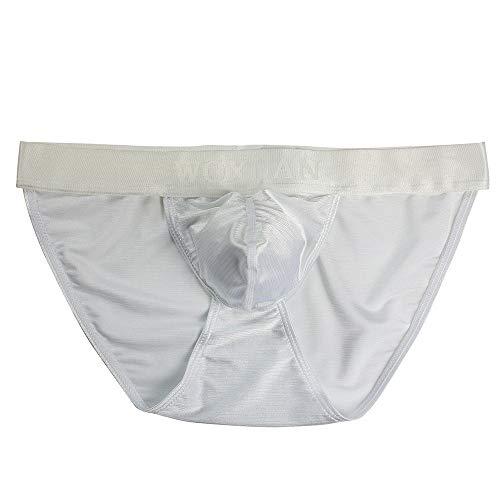 OYSOHE Herren Slips,Männer Sexy Nylon Unterwäsche Unterhosen Men Briefs T-Back String Gay(Weiß,Medium)