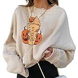 Tekaopuer Sudadera con estampado divertido de dibujos animados, manga larga, suéter suelto de calabaza de Halloween, sudaderas casuales para mujer, Helado, 3XL