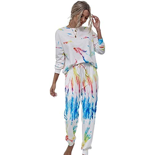 Yiyu 2-teilige Tie-Dye-Rundhals-Casual-Langarm- Und Hosen-Pyjama-Set Workout-Yogahosen Für Fitnessübungen Im Fitnessstudio x (Color : White, Size : M)