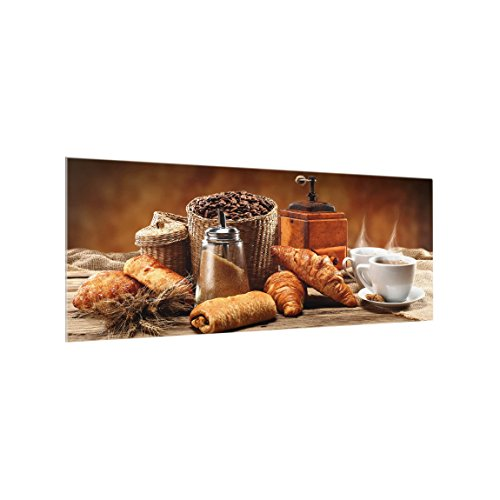 Bilderwelten Panel antisalpicaduras de Cristal - Breakfast Table - Panorámico, Panel antisalpicaduras Panel de Vidrio para Cocina Protector contra Salpicaduras, Tamaño: 50cm x 125cm