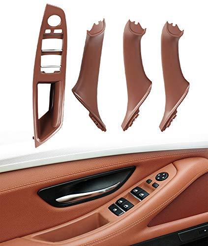 Kit de manija de puerta de panel de interruptor de ventana para serie F10 F11, cubierta de moldura de manija de panel de puerta interior para B-M-W 520 523 525 528 530 535 (rojo marrón)