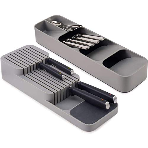 Kitchen Drawer Organizer Tray  cutlery organizer in a drawer for Knives Fork Spoons Storage Rack Cabinet Holder Gray Plastic No-Slip Eco-friendly Durable Tray Organizer