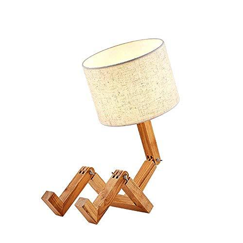 Kreative Roboter Schreibtischlampe Verstellbare Kann Bücher Setzen Holz Nachttischlampe Mit Stoff Lampenschirm Ø22*H60cm 1*E27-Kreative Tischlampe Für Schlafzimmer Wohnzimmer 12W (Trikolore Dimmen)