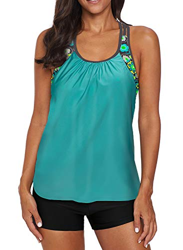 Women's Blouson Floral T-Back Push Up Tankini Top Halter Padded Slimming Swimsuit Sporty Swimwear Mint Green Plus Size X-Large 14 16
