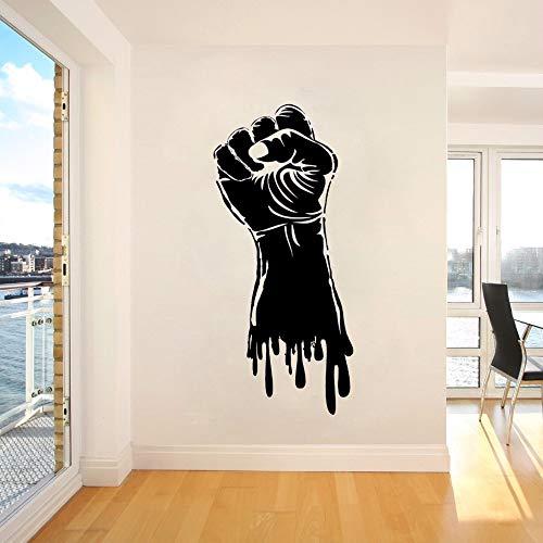 mgrlhm Vinyl Wandtattoo Faust Hand Power Stärke Wandaufkleber Fitnessstudio Sportdekoration Faust Hand Stil Wandkunst Poster Power Aufkleber 57 * 126cm