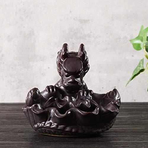 Ash Catcher Fragancia incensario de cerámica Dragon Pond Reflujo palillo del incienso Quemador Conos Holder Decoración hogareña