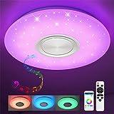 Bluetooth Deckenleuchte 36W Ø50CM LED Deckenlampe mit Lautsprecher, Fernbedienung und APP-Steuerung, JDONG RGB Farbwechsel, dimmbar, Sternenhimmel Lampe