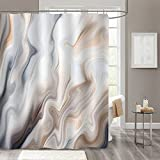 MitoVilla Abstract Brown Grey Marble Shower Curtain Sets with Hooks, Ombre Tan and Blue Liquid Waves Bathroom Curtain for Contemporary Bath Accessories Decor, Taupe, Sand, Blue Grey, 72' W x 84' L