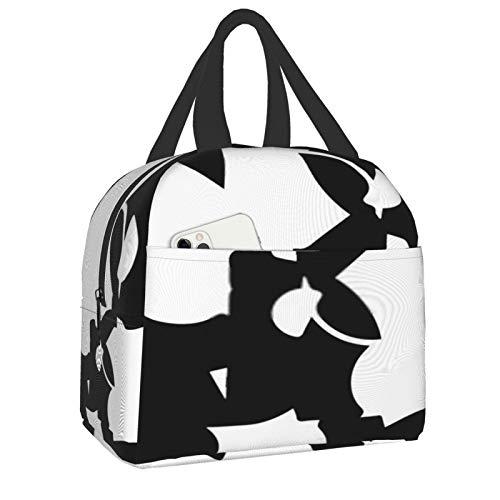 Abstracto monocromo fondo ilustración semitono portátil impermeable bolsa nevera caja de almuerzo organizador para adultos