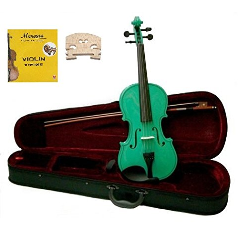 Merano MV300GR 4/4 Full Size Green Violin with Case and Bow+Extra Set of String, Extra Bridge, Rosin