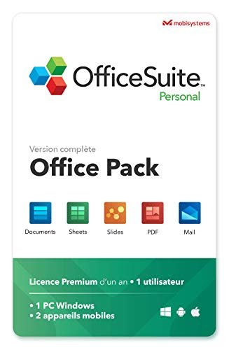 OfficeSuite Personal - compatible avec Microsoft® Office Word®, Excel®, PowerPoint® et avec Adobe® PDF pour PC Windows 10, 8.1, 8, 7 – 1 PC; 2 appareils mobile / 1 utilisateur / 1 an d'abonnement