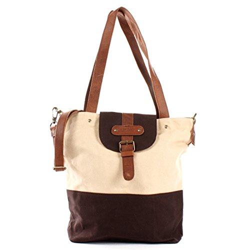 LECONI Schultertasche Frauen Umhängetasche großer Shopper für Damen Handtasche Vintage-Look aus Canvas & Leder 38x35x11cm beige mokka LE0053-C