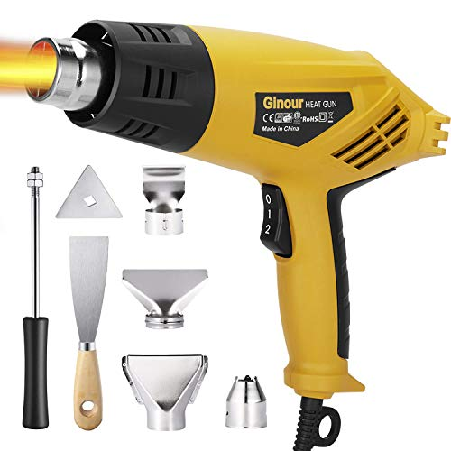 petit Heat gun, Ginour, 2000W, hair dryer, 4 nozzles, 2 temperatures, 350 550-550 ℃, non-slip handle, 6 accessories.Removal of paint, heat dissipation