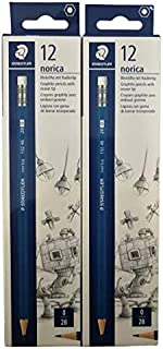 Staedtler Pencils Wooden lead graphite 2B lead pencil with eraser, Total 24 count