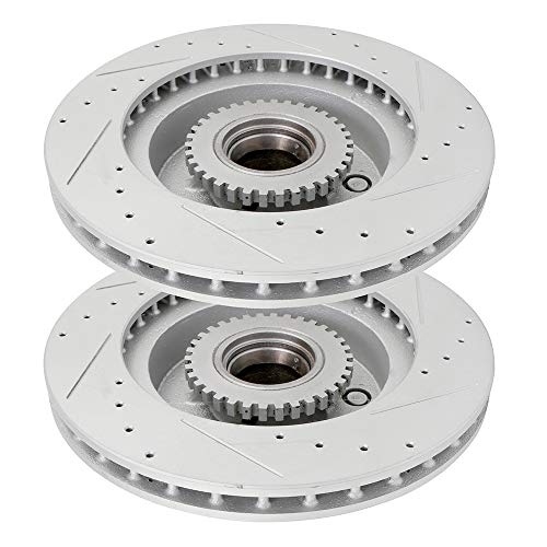Front Slotted Drilled Brake Rotors Lsailon Fit for 1991-1996 Buick Roadmaster Cadillac Fleetwood/ 1991-1996 Chevrolet Caprice/ 1994-1996 Chevrolet Impala/ 1991-1992 Oldsmobile Custom Cruiser