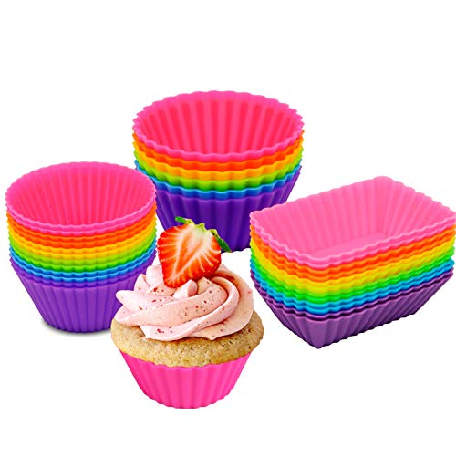 30 Pack Silicone Cupcake Baking Cups, Reusable Cupcake Liners Nonstick Muffin Liners for Bento Bundle Lunch Box Dividers