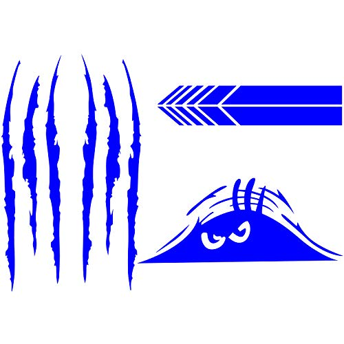 5 Pieces Car Stickers Decorations Claw Marks Decal Reflective Sticker Waterproof Monster Scary Eyes Car Decal Stickers Rear View Mirror DIY Car Sticker for Window Wall Car Decorations (Blue)