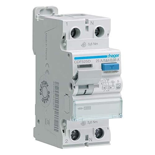 Hager 3250611621577 CDF525D - Interruptor diferencial (2 pines, 10 kA, 25 A, 30 mA, F, diferencial)