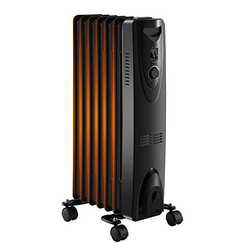 R.W.FLAME Space Heater Oil Filled Radiator Heater, 3 Heat Settings, Thermostat Adjustment Quiet Portable Heater with Tip-over & Overheating Functions Black