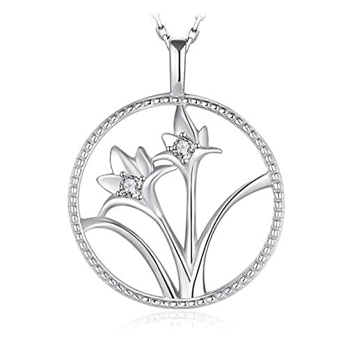 Kkoqmw Flor de Narciso Redondo CZ 925 Colgante de Plata esterlina Collar Mujeres círculo Colgante de Diamante simulado sin Cadena