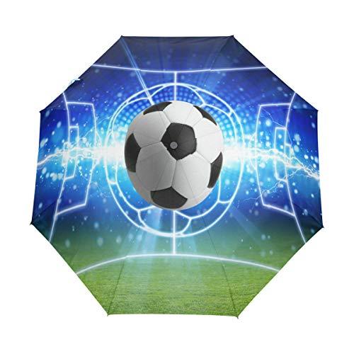 BIGJOKE Regenschirm mit 3 Falten, automatisches Öffnen, Schließen, Sport, Ball, Fußball, winddicht, Reisen, leicht, kompakt, für Jungen, Mädchen, Männer und Frauen