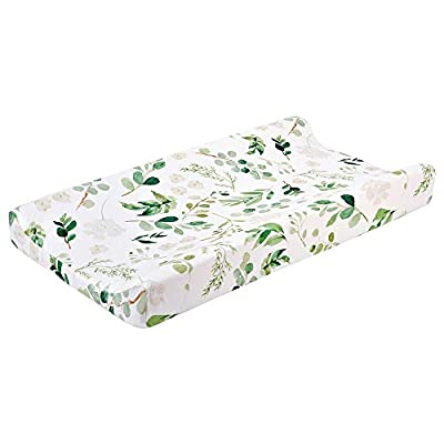Baby Floral Diaper Changing Pad Cover Cradle Mattress, Infant Stretchy Fabric Changing Table Cover Changing Mat Cover Baby Nursery Diaper Changing Pad Sheets 32''X 16'' (Green Leaves)