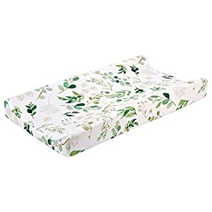 """Baby Floral Diaper Changing Pad Cover Cradle Mattress Sheets, Infant Stretchy Fabric Changing Table Cover Changing Mat Cover Baby Nursery Diaper Changing Pad Sheets 32""""X 16"""" (Green Leaves)"""
