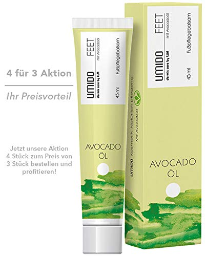 4 für 3 Aktion UMIDO Fußbalsam 45 ml Avocadoöl | 4 Stück kaufen aber nur 3 Stück bezahlen | Fußcreme | Fußlotion | Pflegecreme | Fußpflegecreme (2-FPF)