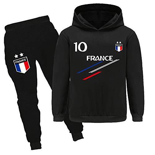 Xpialong Jogging Survêtement De Football France 2 étoiles Enfant Sweat à Capuche Filles Printemps garçons (01 Sets,12-13 Ans)