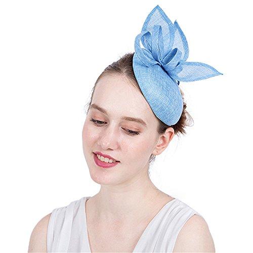 HUIO Coiffe Pince à Cheveux Accessoires Cocktail Royal Ascot Chapeau élégant féminin Coiffe de mariée Fleur pour Femme (Color : Blue)