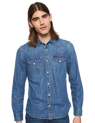 Lee Western Shirt Camisa, Oil Blue Mo, L para Hombre