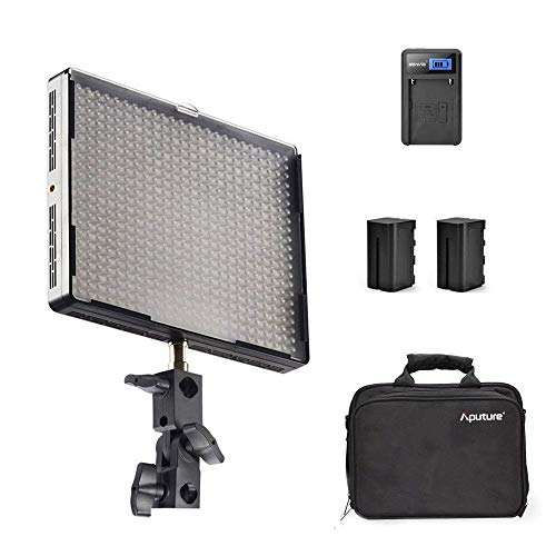 Emgreat Aputure Amaran AL-528S 528 Led Video Light Panel Led Studio Lighting Kit with Rechargeable Batteries Pack and Pergear Clean Kit