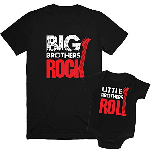 Nursery Decals and More, Big Brother Again Shirt, My Siblings Have Paws Onesie, Big Brothers Rock/Little Brothers Roll, Big Sibling 6/8 / Lil Sibling (3-6M) 3M