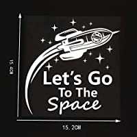 Bigtu 15.2X15.4CMおかしい車のステッカービニールデカール宇宙に行こう黒/銀10A-0164-銀
