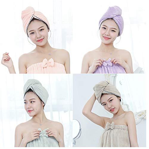 MountRise-Towel Serviette de Cheveux Wrap Turban, séchage en Microfibre Molleton de Bain Pomme de Douche Serviette avec des Boutons, idéal pour Les Longs et Cheveux bouclés, Anti-Frizz, 4 Pack,B