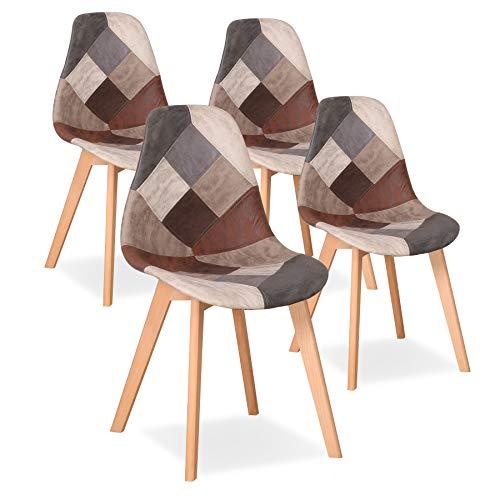 Uderkiny Juego de 4 sillas Silla de Comedor de Retazos Silla de Estilo nórdico para Cocina Comedor Sala de Estar y Restaurante (Marrón02)
