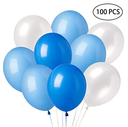 YZCX 100 Pezzi Palloncini in Lattice Matrimonio Palloncini Compleanno Decorazioni per Feste, Baby Shower Festa di Natale, Cerimonia (Blu e Bianco)