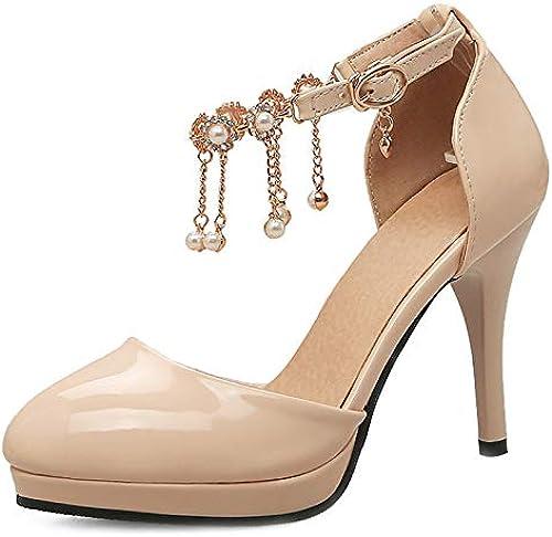 HLG Chaussures pour femmes neuves à bout ouvert sandales pour femmes talons hauts à franges en perles pompes à plateforme pour femmes à talons hauts