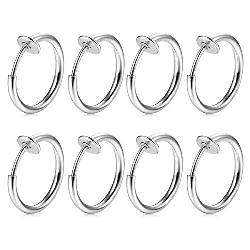 FECTAS 8stk Fake Nasen Lippe Septum Ohrring Piercing Ring Clip Chirurgenstahl Kein Piercing Bauchnabelpiercing Clicker