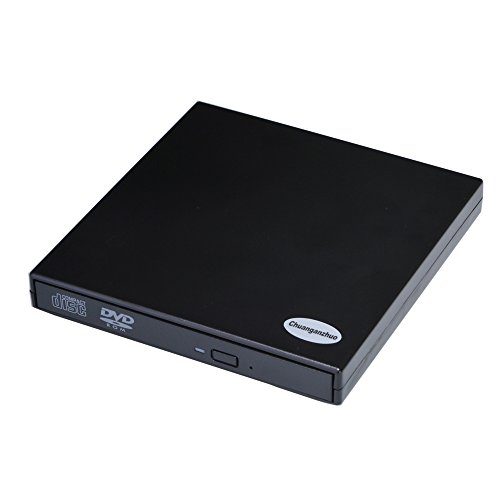 External CD DVD Drive, Chuanganzhuo USB 2.0 Slim Protable External CD-ROM Drive DVD-ROM Player for Laptop Notebook PC Desktop Computer for Mac Windows 2000/XP/Vista/7/8/10, Black (DVD-ROM)