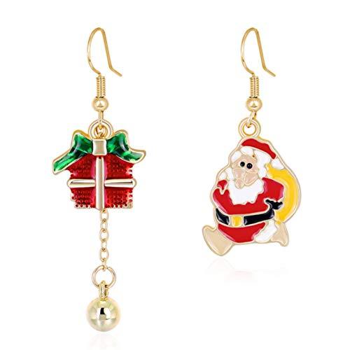GLJYG Pendientes de gancho de Navidad, asimétricos, campanas de Navidad, pendientes colgantes de moda, diseño de Papá Noel, joyas regalo para mujeres y niñas
