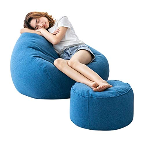 Bean Bag Home Beanbag with Foot Pads, Filled with EPP Particles, Soft and Support The Body, Sofa with Zipper Design, Easy to Clean, 89x90cm, 9 Colors (Color : Blue-1)